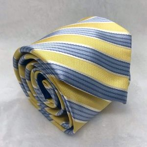 Tommy Hilfiger Mens Necktie Yellow Blue Diagonal S